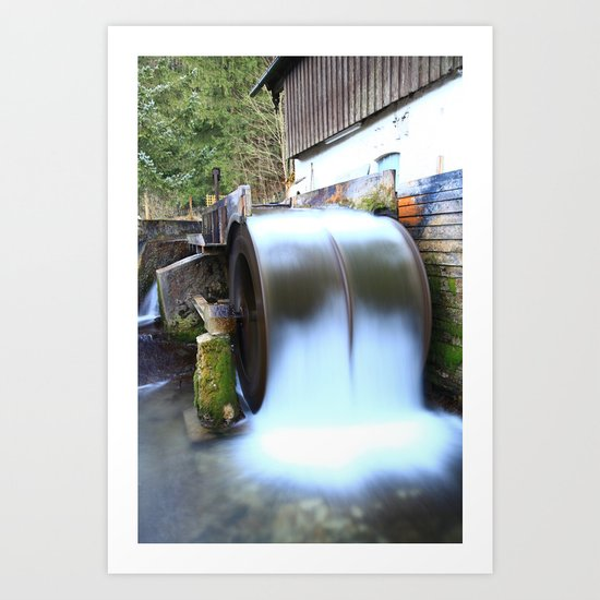 Old watermill in motion Art Print