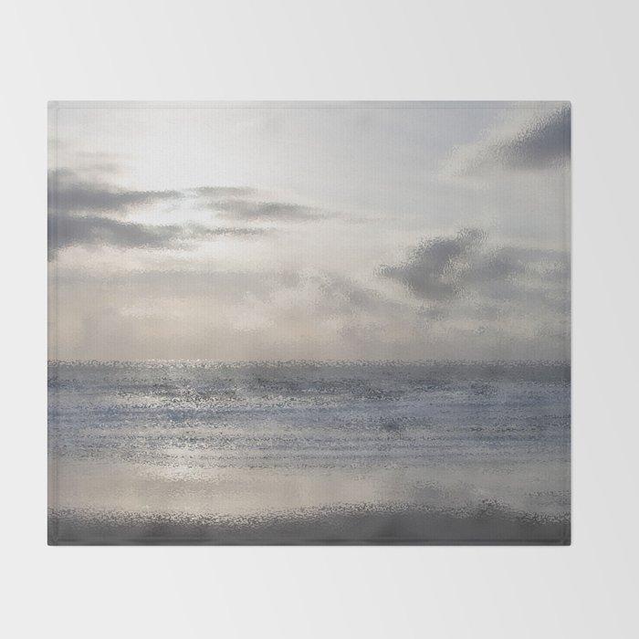 Silver Scene ~ Ocean Ripple Effect Throw Blanket