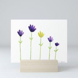 Purple and yellow flowers Mini Art Print