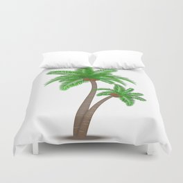 Tropical palm tree with coconuts symbol isolated vector illustration Duvet Cover