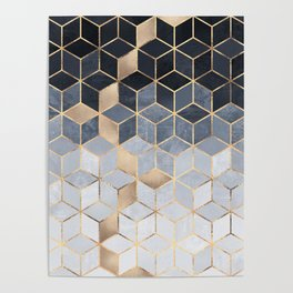Soft Blue Gradient Cubes Poster