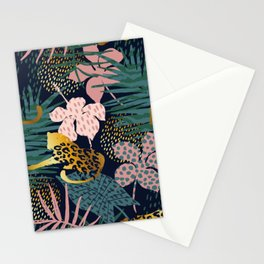Exotic Golden Jungle Leopard & Pink Palm Leaf Geometric Pattern Stationery Cards