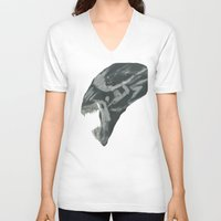 xenomorph V-neck T-shirts featuring Resist Xenomorph by CliftJinkens