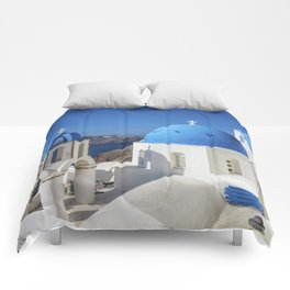 Santorini, Oia Village, Blue and White Church Comforters