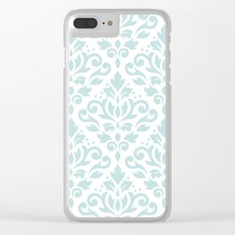 Scroll Damask Lg Pattern Duck Egg Blue on White Clear iPhone Case