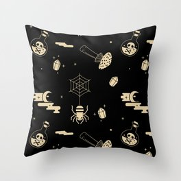 Halloween pattern in black bg Throw Pillow