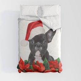 French Bulldog - Poinsettia Christmas Flowers Comforters