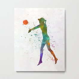 Woman beach volley ball player 02 in watercolor Metal Print