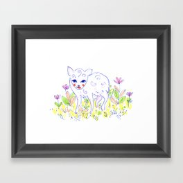 Curly Baby Deer Framed Art Print