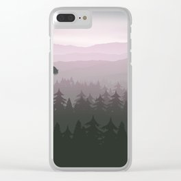 mountain forest in fog and sunrise with stars Clear iPhone Case