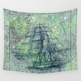 Vintage Clipper Ship Wall Tapestry
