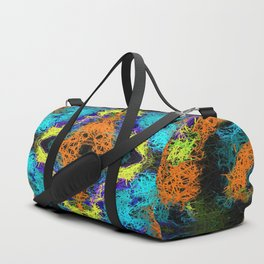 psychedelic graffiti geometric drawing abstract in orange yellow blue purple Duffle Bag