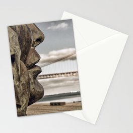 profile statue and bridge Stationery Cards