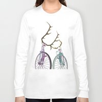 bicycles Long Sleeve T-shirts featuring Bicycles in Love by Wyatt Design