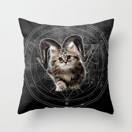Cat Kitty Black Dark Satanic Satan 666 Hell Horns Cross Throw Pillow