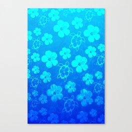 Blue Hawaiian Honu And Tropical Flowers Canvas Print