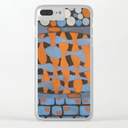 Blue and orange stepping stones Clear iPhone Case