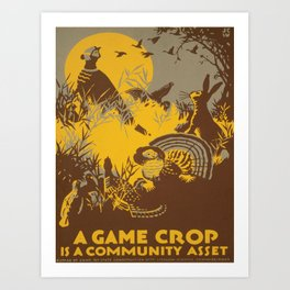 Vintage poster - Game Crop Art Print