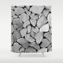 black'n white wood Shower Curtain