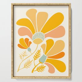 Summer Wildflowers in Golden Yellow Serving Tray