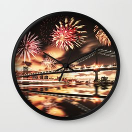 new york city with fireworks Wall Clock