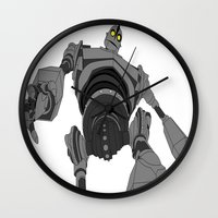 iron giant Wall Clocks featuring Iron Giant. by Steven Goddard
