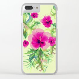 Pink hibiscus with tropic leaves Clear iPhone Case