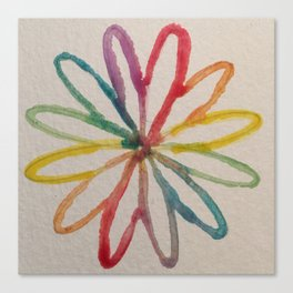 Spirograph Rainbow flower Canvas Print