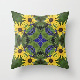 Blue Salvia Compass Points in a Ring of Rudbeckia Throw Pillow