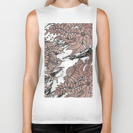 Chic Rose Gold Flowers Leaves and Modern Marble Biker Tank
