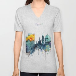 Watercolor Oakland skyline cityscape Unisex V-Neck