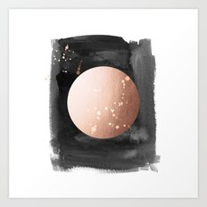 Black night full moon rose gold Art Print