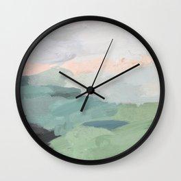 Seafoam Green Mint Black Blush Pink Abstract Nature Land Art Painting Wall Clock