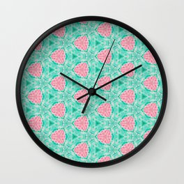 Millennial Pink Chenille and Mint Anchor  Pattern Wall Clock