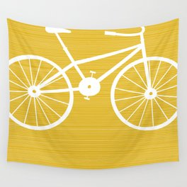 Yellow Bike by Friztin Wall Tapestry