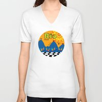 rio V-neck T-shirts featuring Rio 1 by Monica Fuchshuber