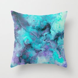 Abstract lilac teal aqua watercolor pattern Throw Pillow