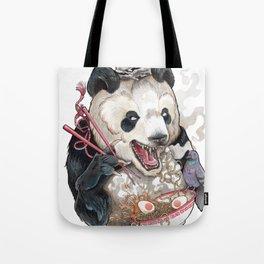 Panda Eating Ramen In A Tin Foil hat Tote Bag