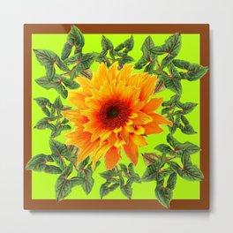 YELLOW SUNFLOWER CHARTREUSE GARDEN BROWN ART Metal Print