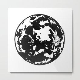 Full Moon black and white lino print Metal Print
