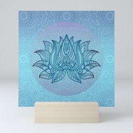 Blue Turquoise Lotos Flower Spiritual Tribal Art Mini Art Print