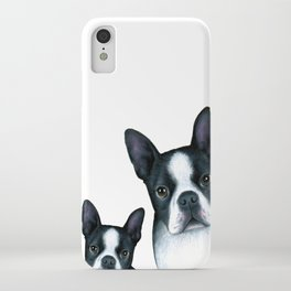 Dog 128 Boston Terrier Dogs black and white iPhone Case