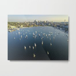 Sailing on Lake Union Metal Print