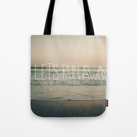 leah flores Tote Bags featuring Let's Run Away by Laura Ruth and Leah Flores  by Laura Ruth