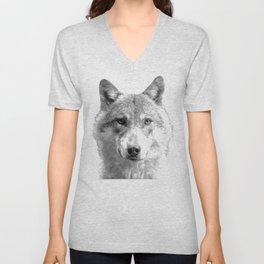 Black and White Wolf Unisex V-Neck