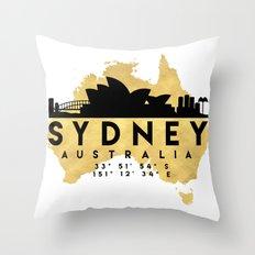 SYDNEY AUSTRALIA SILHOUETTE SKYLINE MAP ART Throw Pillow