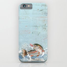 rainbow trout on a hook iPhone Case