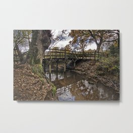 Pooh Bridge In Autumn Metal Print
