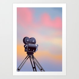 Vintage Movie camera sunset Art Print