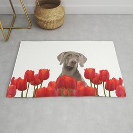 Weimaraner Dog with spring tulips flowers Rug